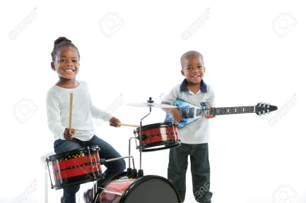 32531038-African-American-Brother-and-Sister-Playing-Music-Instrument-Set-Isolated-on-White-Background-Stock-Photo